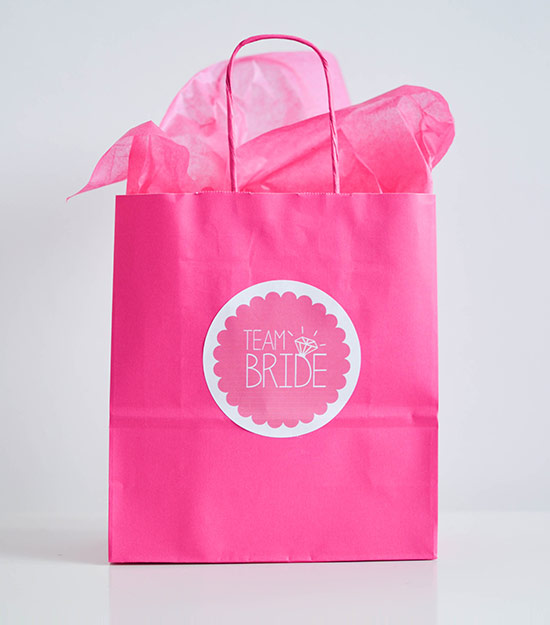 Pink hen bag with label and tissue