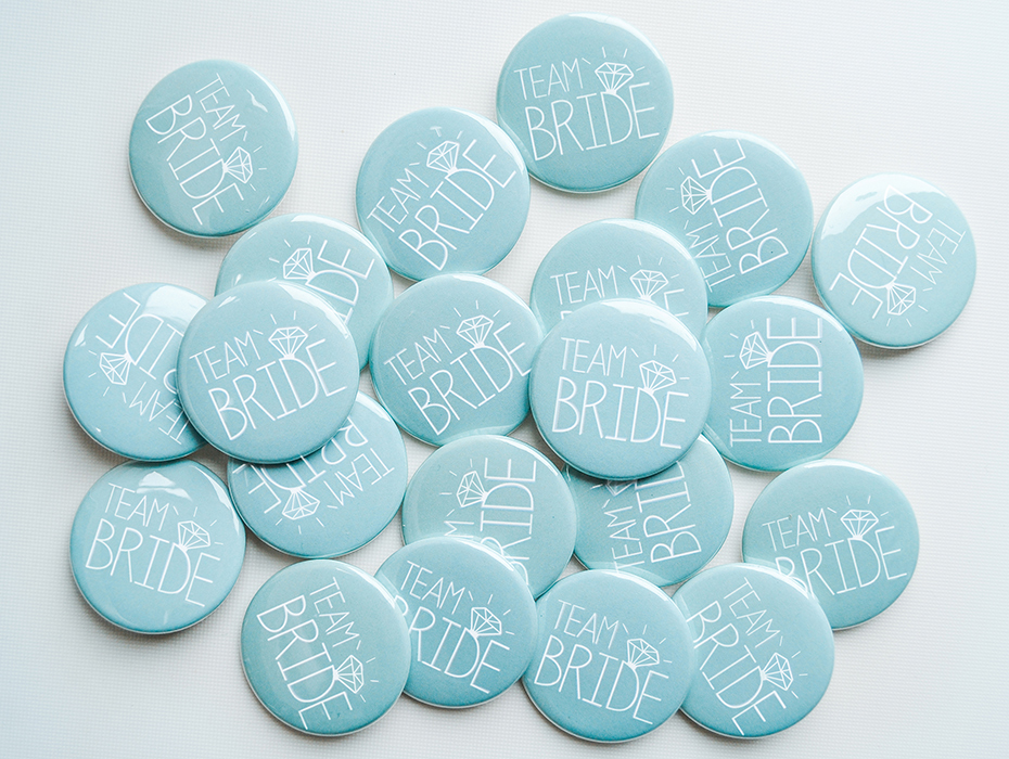 Hen party badges in duck egg blue