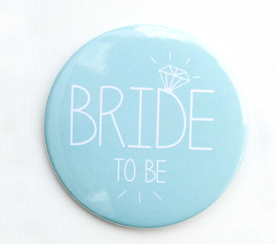 Bride to be badge in duck egg blue